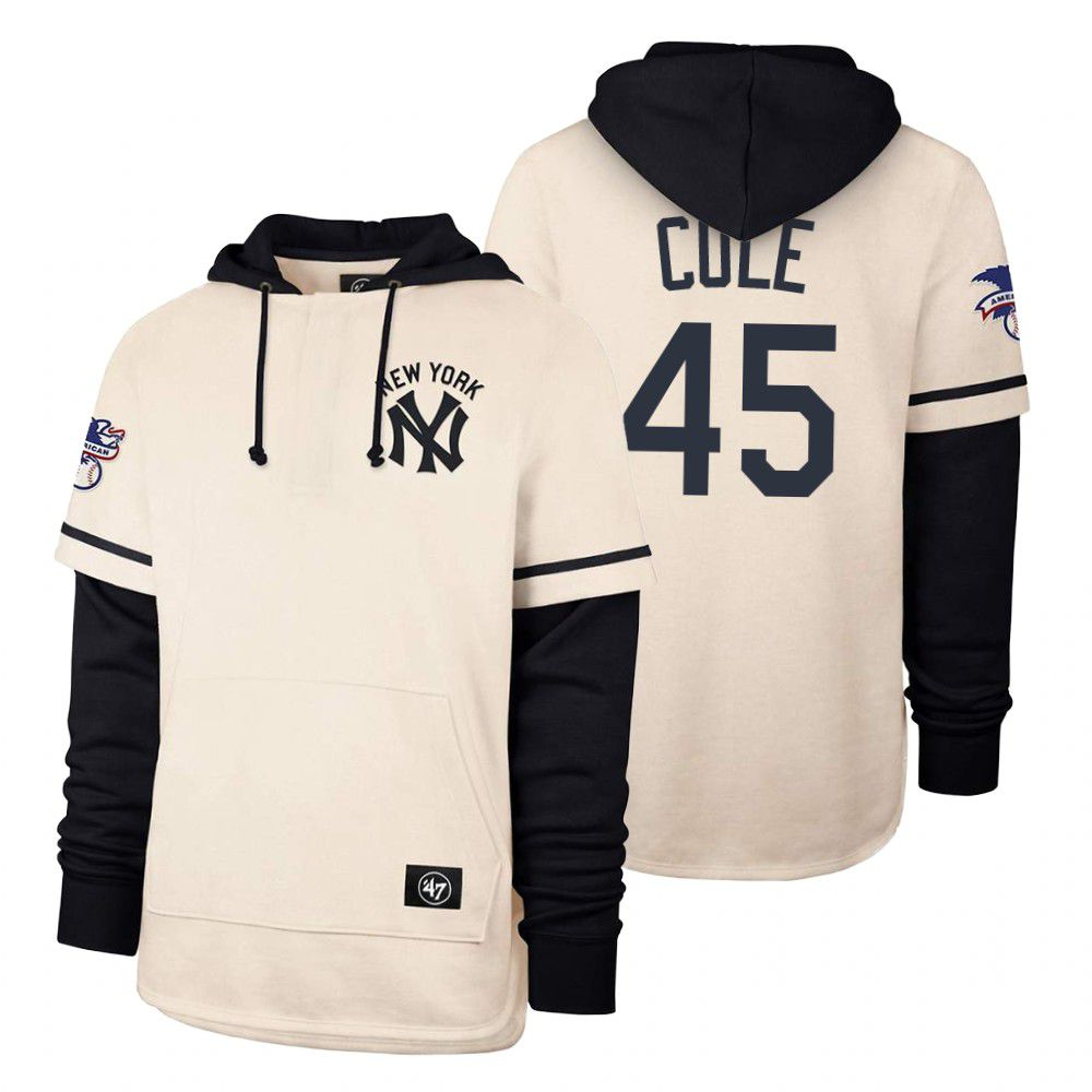 Cheap Men New York Yankees 45 Cole Cream 2021 Pullover Hoodie MLB Jersey